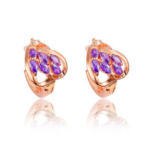 Heart -Shaped Stud Earring with18K Gold Plated Jewelry for Women - multicolor E