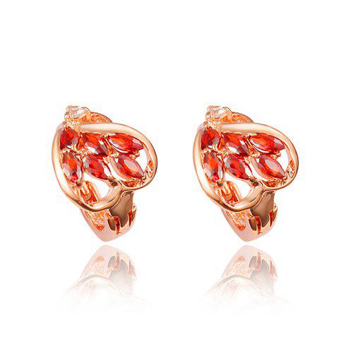 Heart -Shaped Stud Earring with18K Gold Plated Jewelry for Women - multicolor F