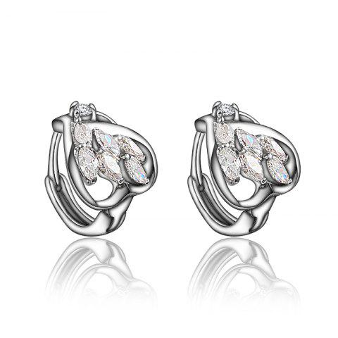 Heart -Shaped Stud Earring with18K Gold Plated Jewelry for Women - multicolor A