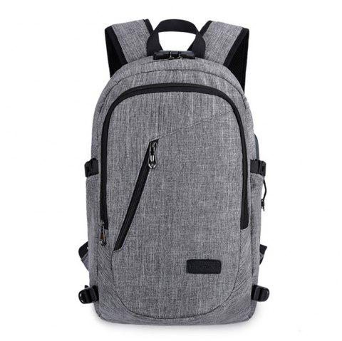 Outdoor Travel Bag Leisure Fashion Anti-Theft Computer Backpack USB - LIGHT GRAY 1PC