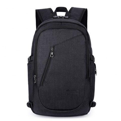 Outdoor Travel Bag Leisure Fashion Anti-Theft Computer Backpack USB - BLACK 1PC
