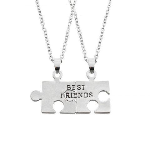Recreational Style Men's Good Friends Stitching Necklaces - SILVER