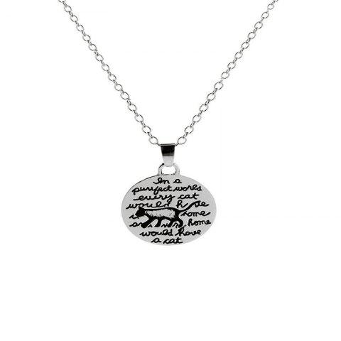 Cat Pendant Necklace for Men Wandering in European and American Fashion - SILVER