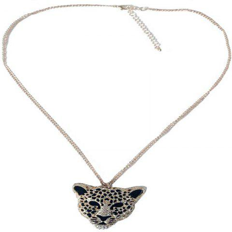Creative Trend Men's Leopard Head Hollow-Out Diamond Hanging Necklace - SILVER