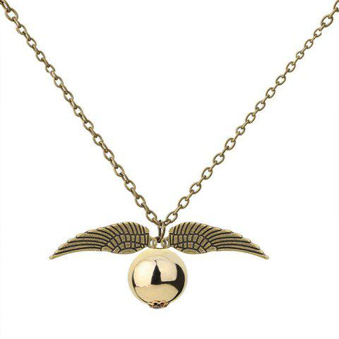 Personality Creative Men's Wings with Ball Necklace - GOLD