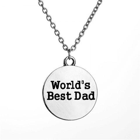 Simple Recreational Men's Round Letter Necklace - SILVER