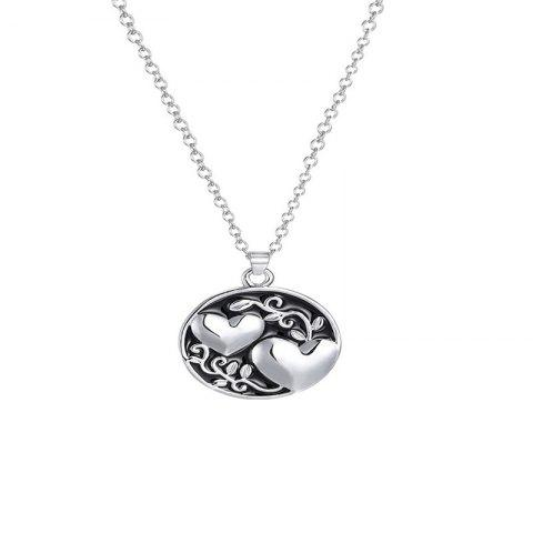 Simple Trend Ladies Double Sister Tree Necklace - SILVER