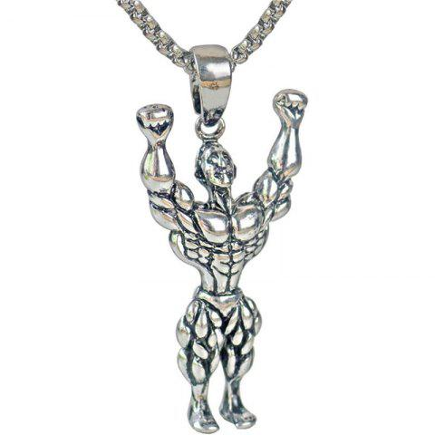 Leisure Men Fitness Mr Hanging Necklace - SILVER