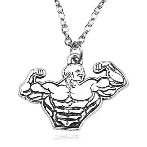 Fashion Men's Fitness Muscle  Necklace - SILVER