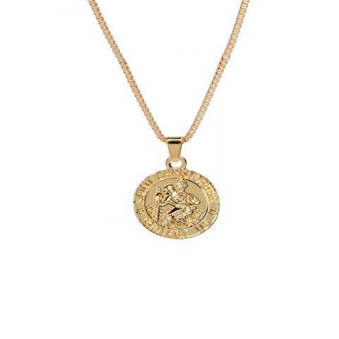 Recreational Trend Men's Round Guardian Necklace - GOLD