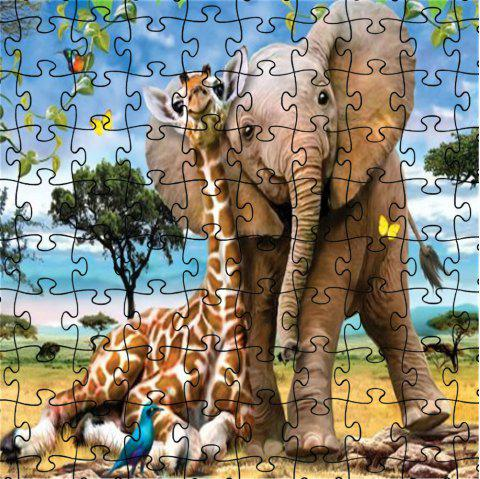 3D Jigsaw Paper Elephant Puzzle Block Assembly Birthday Toy - multicolor