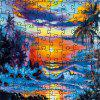 3D Jigsaw Paper Sunset Puzzle Block Assembly Birthday Toy - multicolor