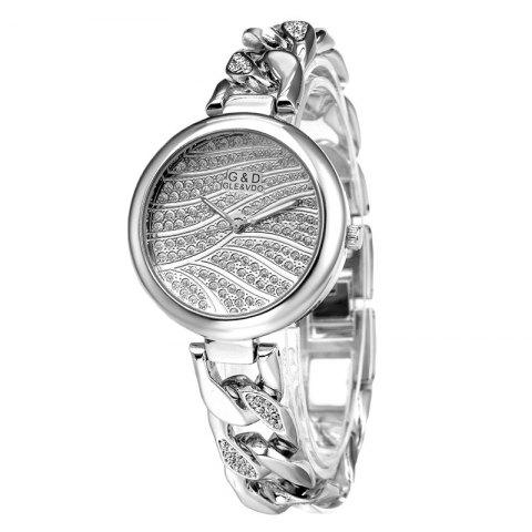 Casual Women'S Wristband Crystal Bracelet Watch - SILVER