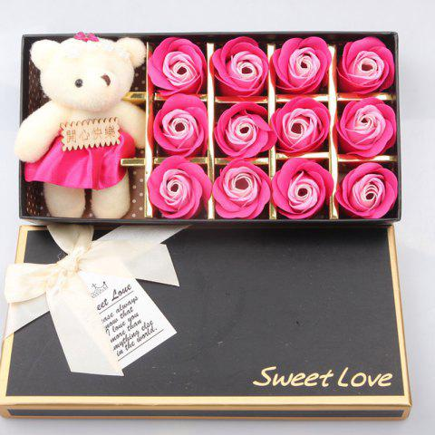 12Pcs/Box Romantic Rose Soap Flower With Little Bear for Valentine's Day Gift - PINK