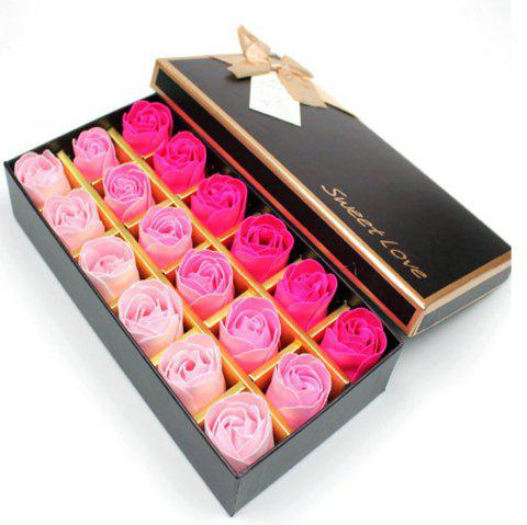 18Pcs/Box Scented Soap Rose Flower Gift for Anniversary/Birthday/Wedding - multicolor A