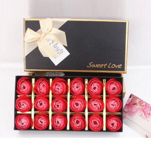 18Pcs/Box Scented Soap Rose Flower Gift for Anniversary/Birthday/Wedding - multicolor D