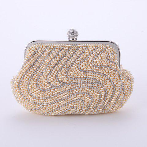 Ms Pearl Set Auger Evening Bag Mass Fashion Chain Hand Bag s Package - APRICOT