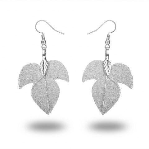 Leaves Eardrop 18 K Gold Plated Earring Exaggerated Fashion New Design - SILVER