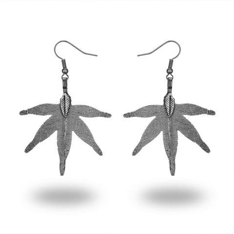 Ms Leaves Eardrop Exaggerated New Design 18 K Gold Plated Earrings - GUNMETAL