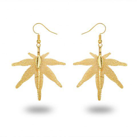 Ms Leaves Eardrop Exaggerated New Design 18 K Gold Plated Earrings - GOLD