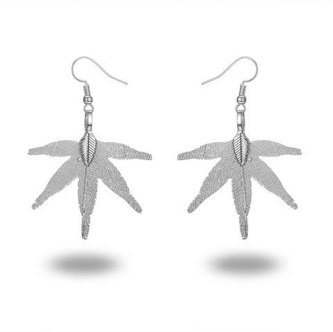 Ms Leaves Eardrop Exaggerated New Design 18 K Gold Plated Earrings - SILVER