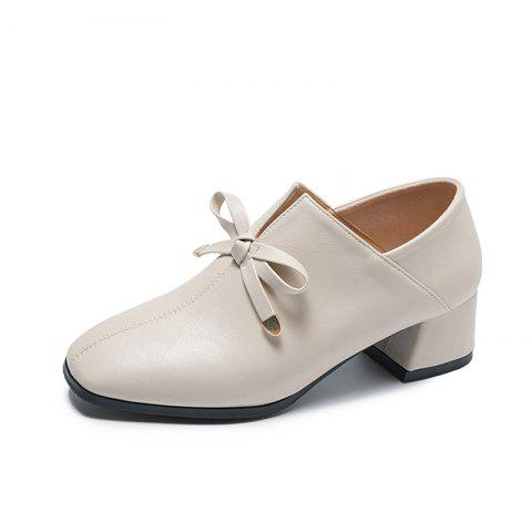 Coarse Heeled Butterfly knotted Single Shoes Small Leather Shoes - WHITE EU 36