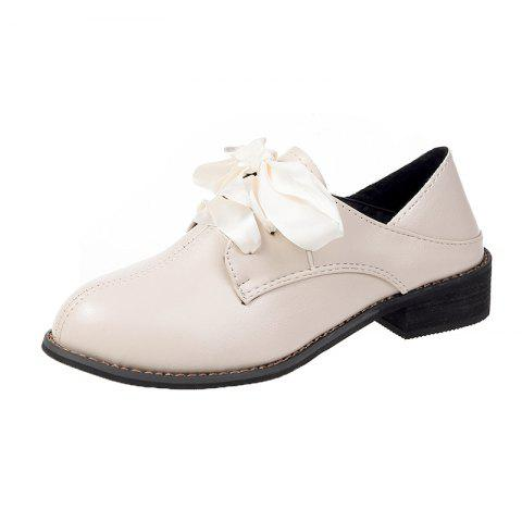 Lace Up Casual Comfortable Small Leather Shoes Womens Single Shoes - MILK WHITE EU 36