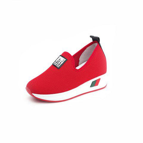Comfortable WomenS Single Shoes with Thick Bottom - RED EU 36