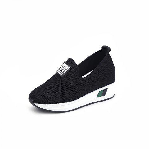Comfortable WomenS Single Shoes with Thick Bottom - BLACK EU 37