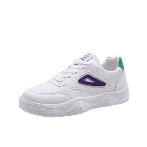 Lace Up Color Matching Comfortable and Leisure Womens Single Shoes - PURPLE EU 35