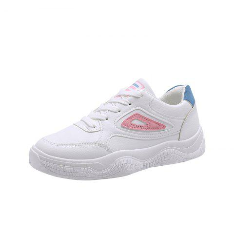 Lace Up Color Matching Comfortable and Leisure Womens Single Shoes - PINK EU 38