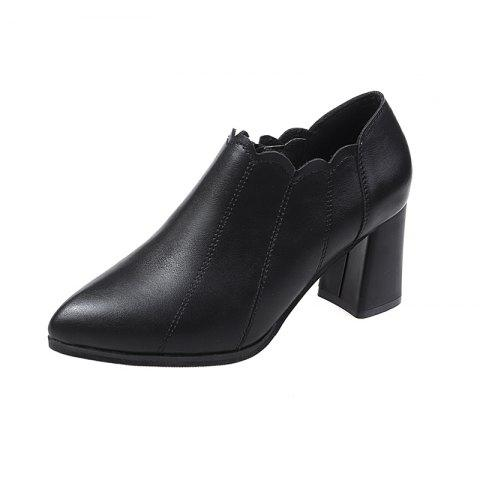 High Heeled and Thick Heeled Shoes Zipper and White Tied Casual Womens Single S - BLACK EU 35