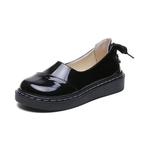 Comfortable White Tied Casual Womens Shoes with Straps At The Back - BLACK EU 35