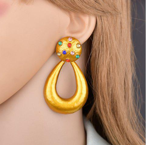 Fashion Exaggerated Diamond Hollow Earrings - GOLD 1 PAIR