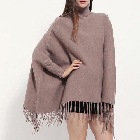 High Collar Pullover Lady Tassel Cloak Monochrome Cashmere Shawl Bat Sleeve Coat - PUCE 1PC