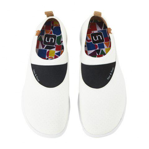 UIN Men's Painted Sintra White Slip-On Fashion Travel Shoes Art Casual Shoes - MILK WHITE EU 42