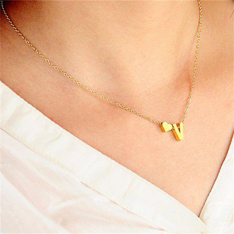 Emperament Baitao Lady Loving V Double-Pendant Necklace - GOLD