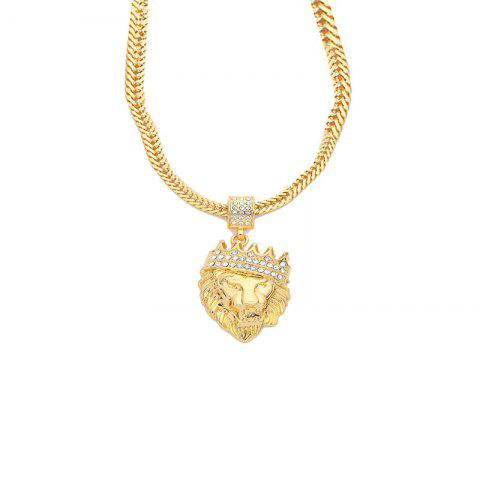 Personality Trend Men with Diamond Crown Lion Necklace - GOLD