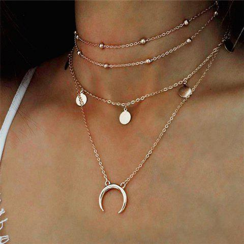 Elegant Temperament Lady Wafer Moon Multi-Layer Necklace - GOLD