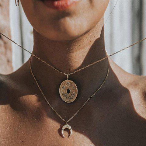 Baitie Sweet Lady Copper Money Moon Multi-Layer Necklace - GOLD