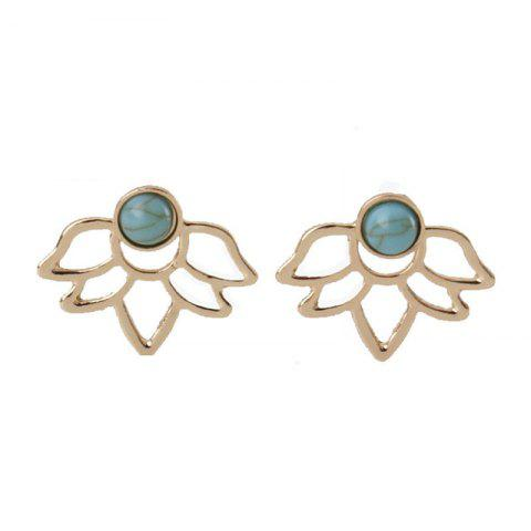 Sweet Temperament Lady Turquoise Double-Sided Lotus Ear Nail - GOLD