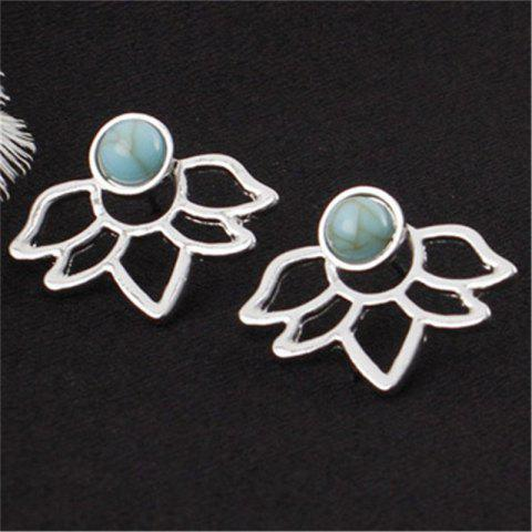 Sweet Temperament Lady Turquoise Double-Sided Lotus Ear Nail - SILVER