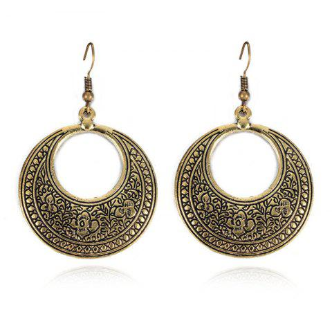 Bohemian Wind Lady Round Carved Female Earrings - GOLD