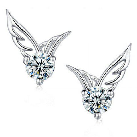 Beautiful Temperament Lady Angel Wing Earrings - SILVER