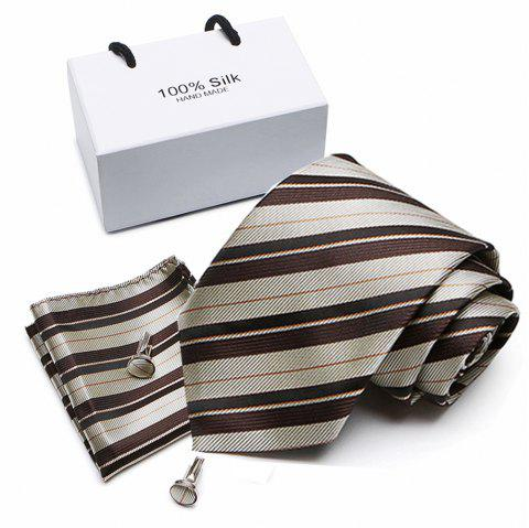Polyester Silk Tie for Men Is A Business Tie and A Wedding Tie - multicolor D 1 SET