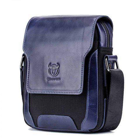 Men's Leather One-Shoulder Diagonal Cross-Head Layer Leather Business Personalit - DEEP BLUE