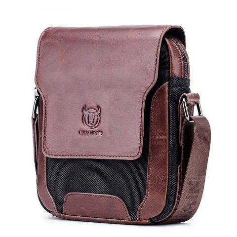 Men's Leather One-Shoulder Diagonal Cross-Head Layer Leather Business Personalit - DEEP COFFEE