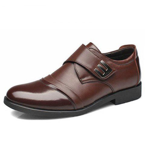 New Men Classic Color Blocking Hook-Loop Business Casual Leather Shoes - BROWN EU 39