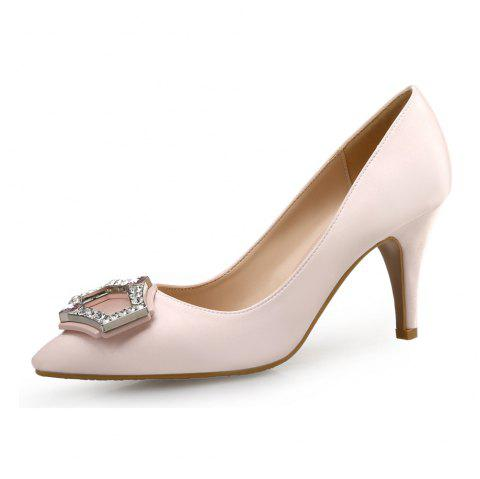 Pointed High Heels Satin Rhinestone Shallow Mouth Four Seasons - APRICOT EU 35