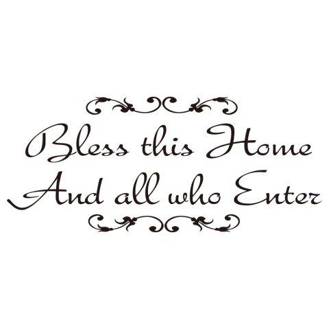 BLESS THIS HOME AND ALL WHO ENTER Jesus God Lord Bless Church Home Decoration - BLACK 26*57CM